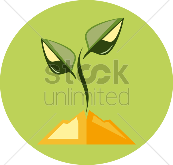plant growing from soil vector graphic