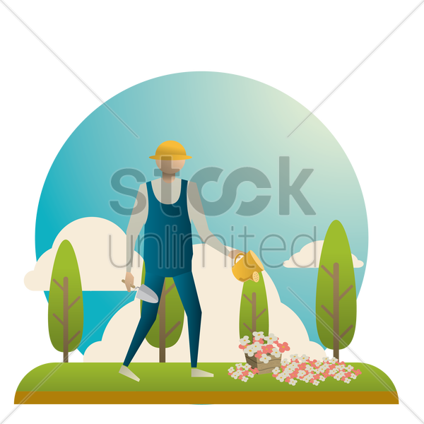 planting concept vector graphic