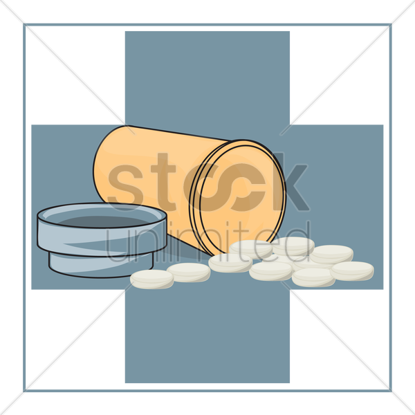 Free plastic medicine bottle and pills vector graphic