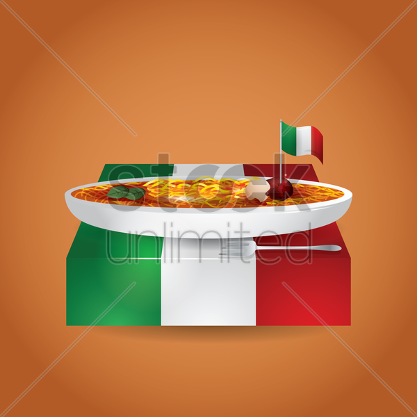 plate of spaghetti vector graphic