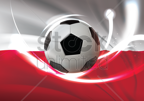 poland flag with soccer ball vector graphic