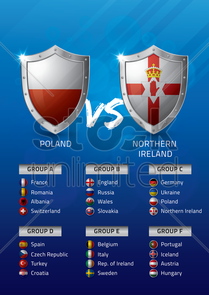 poland vs northern ireland vector graphic