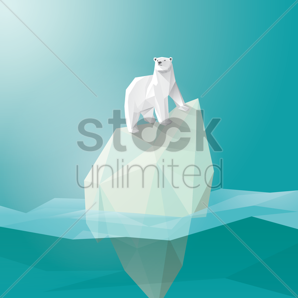 polar bear on iceberg vector graphic