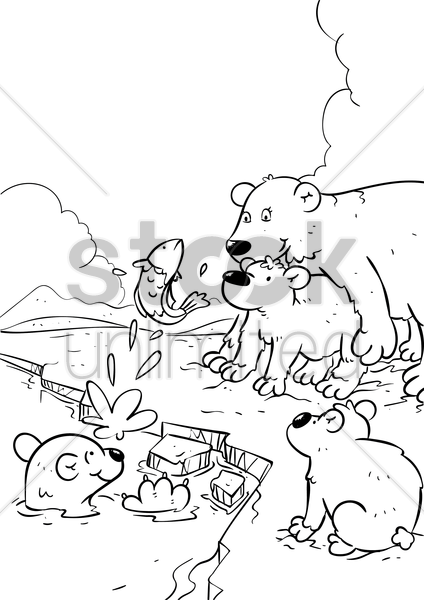 polar bear with cubs vector graphic