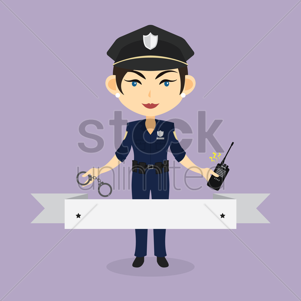 police woman banner vector graphic