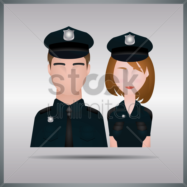 policeman and policewoman vector graphic