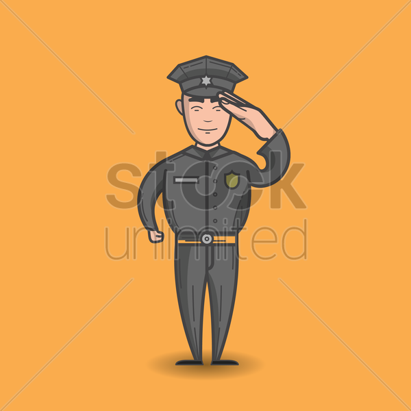 policeman saluting vector graphic