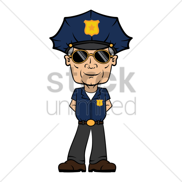 policeman standing vector graphic