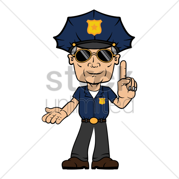 policeman with hand gesture vector graphic