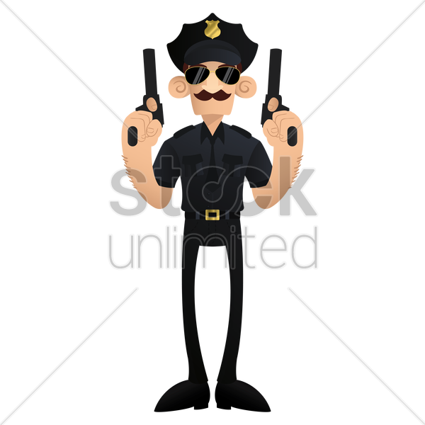 policeman with pistols in hands vector graphic
