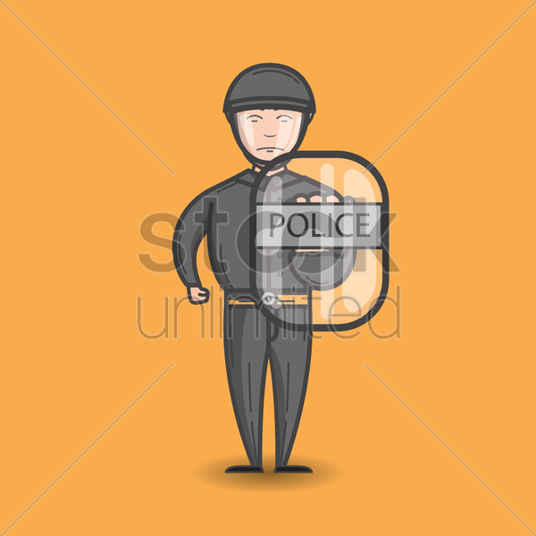 policeman with riot shield vector graphic