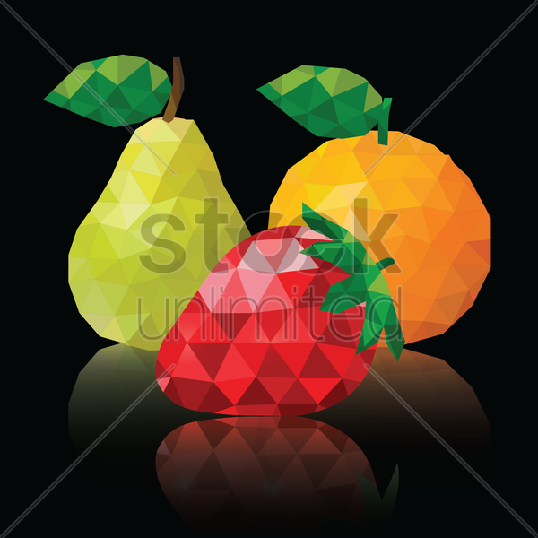 polygon fruits wallpaper vector graphic