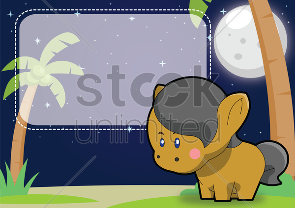 pony on a label vector graphic