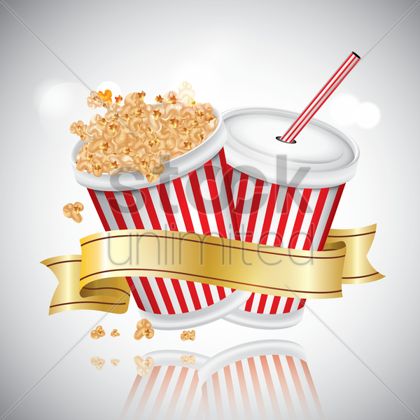 popcorn and drink vector graphic