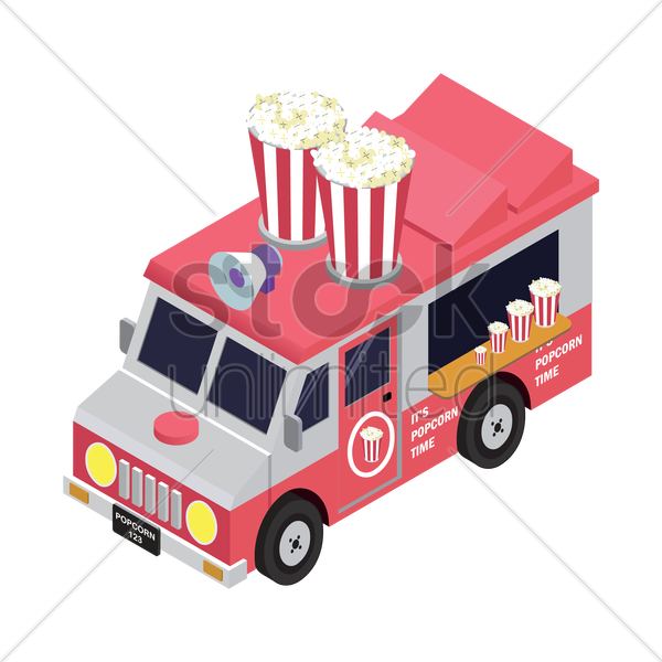popcorn truck vector graphic