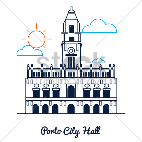 porto city hall vector graphic