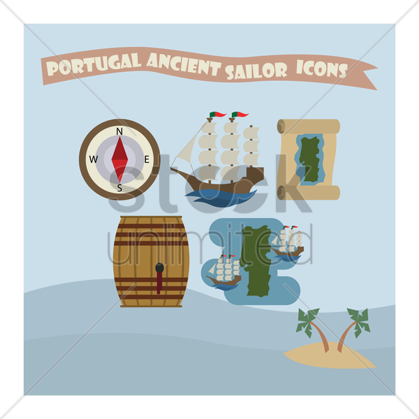 portugal ancient sailor icons vector graphic