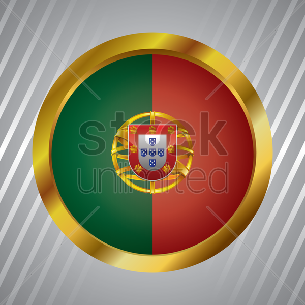 portugal flag button vector graphic