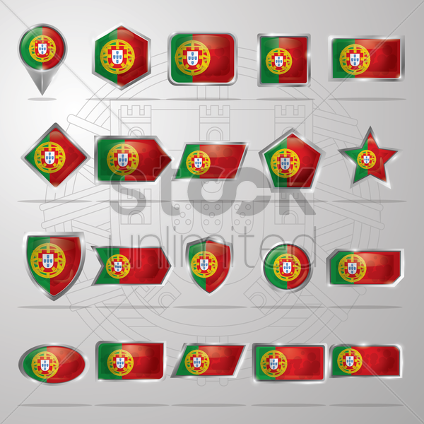 portugal flag icons vector graphic