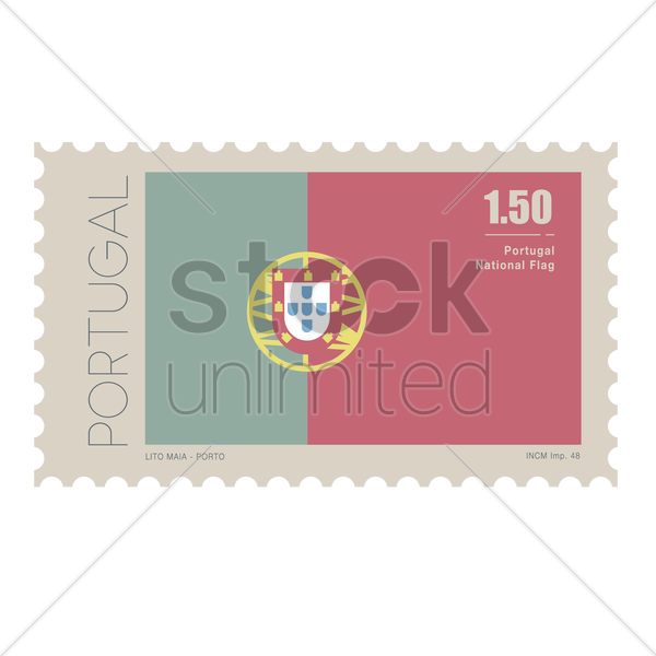portugal flag postage stamp vector graphic