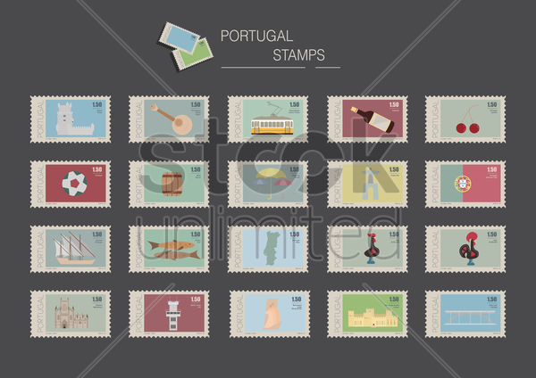 portugal stamps vector graphic