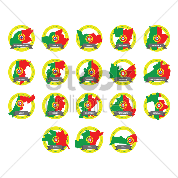 portugal state map icons vector graphic
