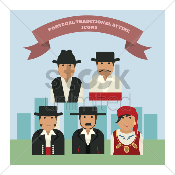 portugal traditional attire icons vector graphic