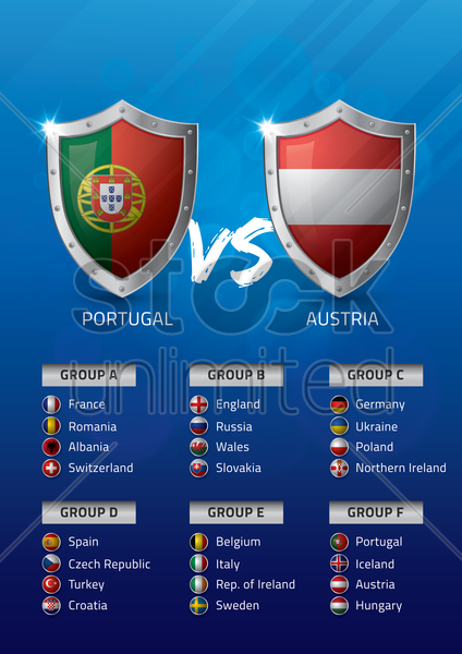 portugal vs austria vector graphic