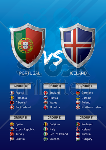 portugal vs iceland vector graphic