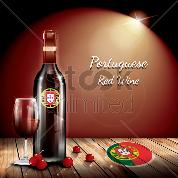 portuguese red wine vector graphic