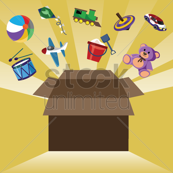 poster of toys out of the box vector graphic