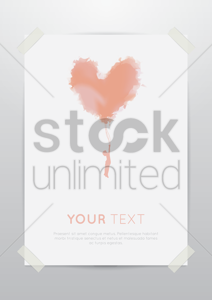 poster with heart vector graphic