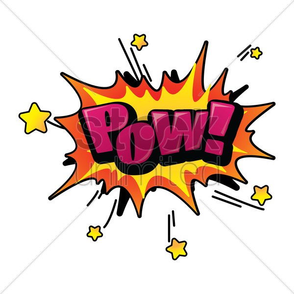 pow text with comic effect vector graphic