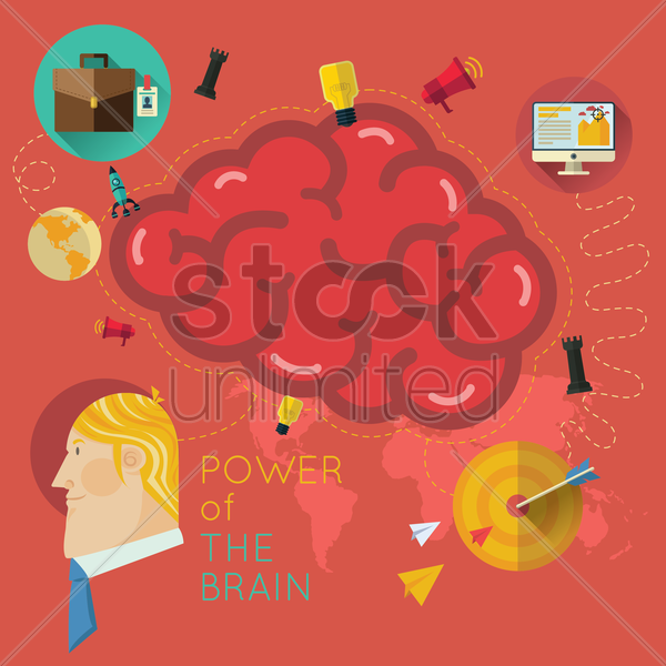power of the brain infographic vector graphic