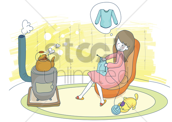 pregnant woman knitting sweater vector graphic