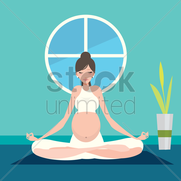 pregnant woman practising yoga vector graphic