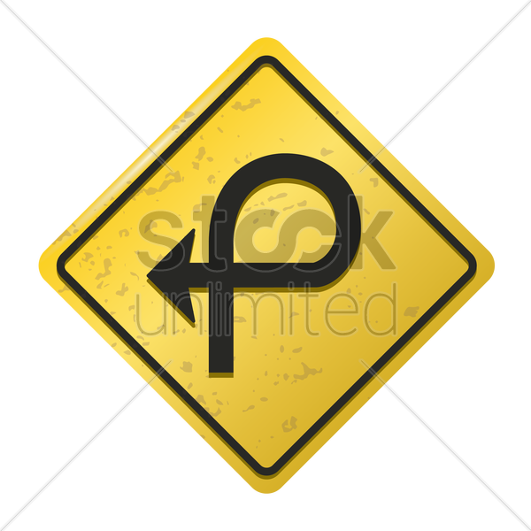 pretzel loop on right sign vector graphic