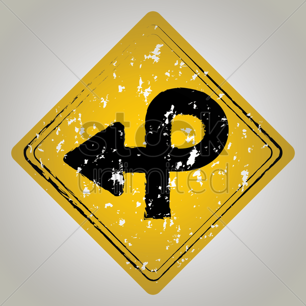 pretzel loop road sign vector graphic
