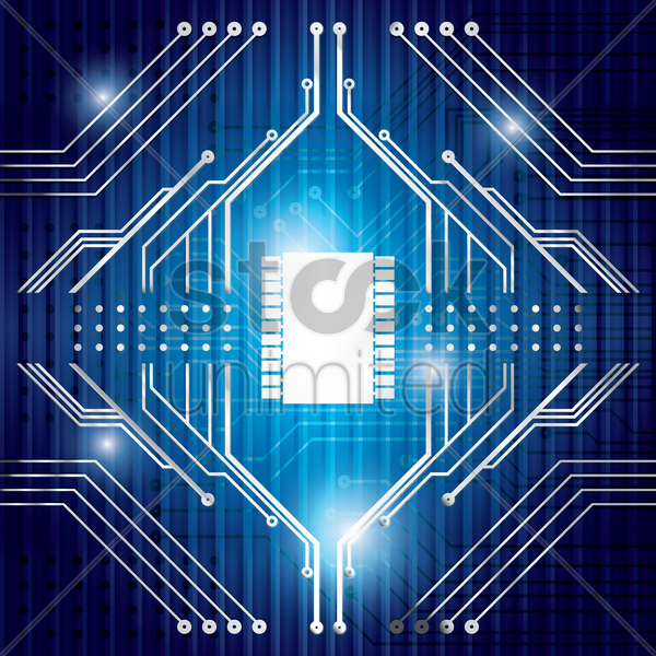 processor on circuit board design vector graphic