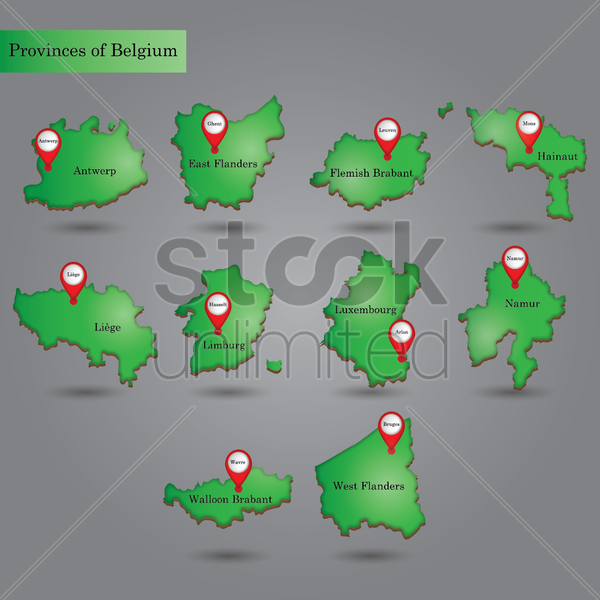 provinces of belgium vector graphic