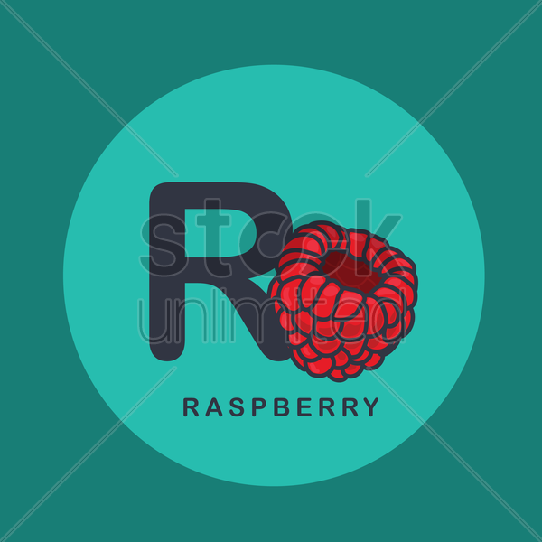 r for raspberry. vector graphic
