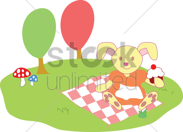 Free rabbit eating cupcake outdoors vector graphic