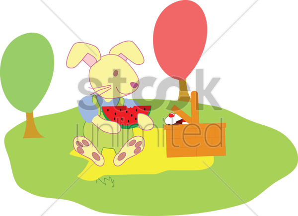 rabbit having a picnic vector graphic