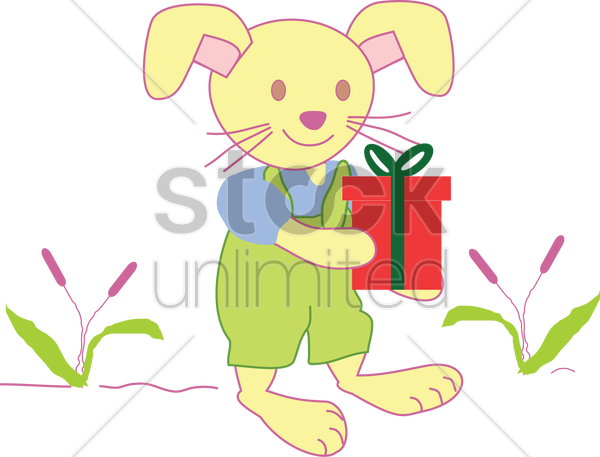 Free rabbit holding a present vector graphic