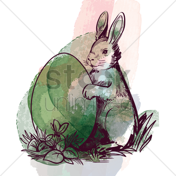 rabbit holding egg vector graphic