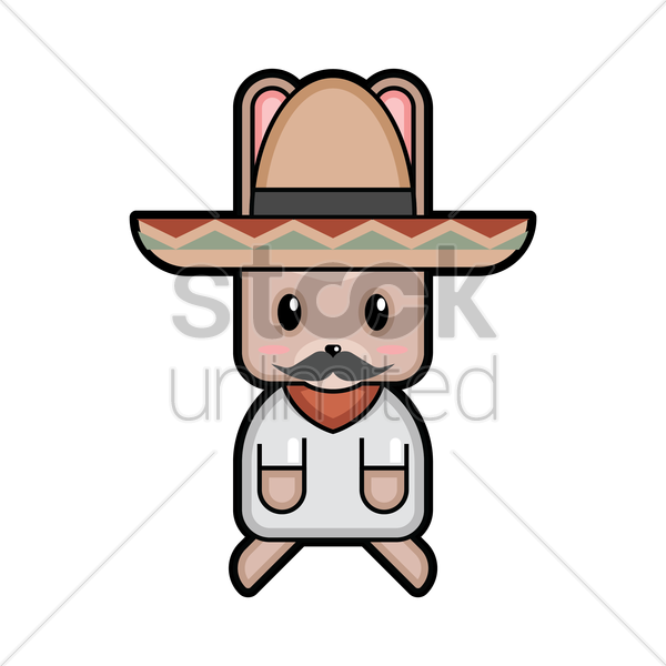 rabbit mexican man vector graphic