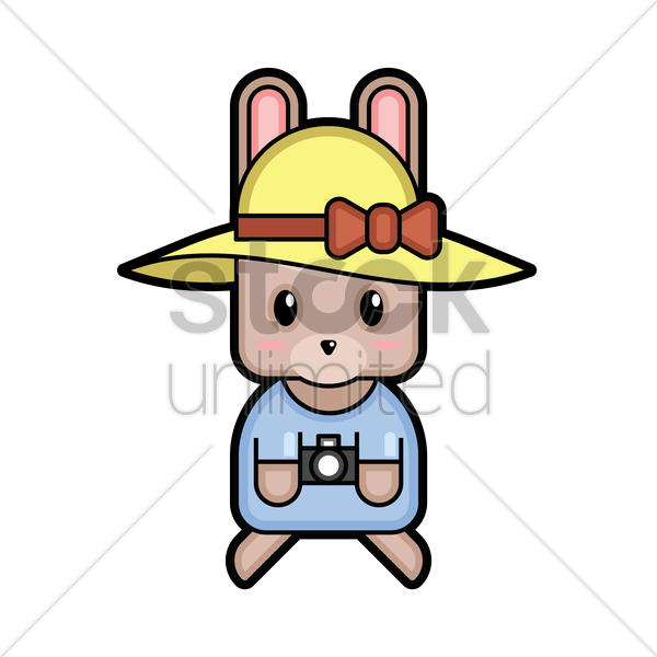 rabbit tourist vector graphic