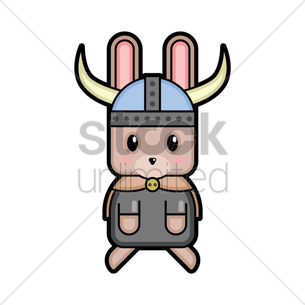 rabbit viking warrior vector graphic