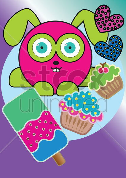 rabbit with cupcakes and ice cream stick vector graphic