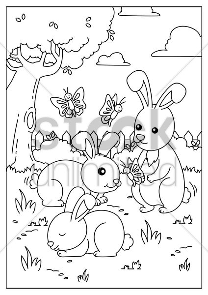 rabbits playing with butterflies vector graphic